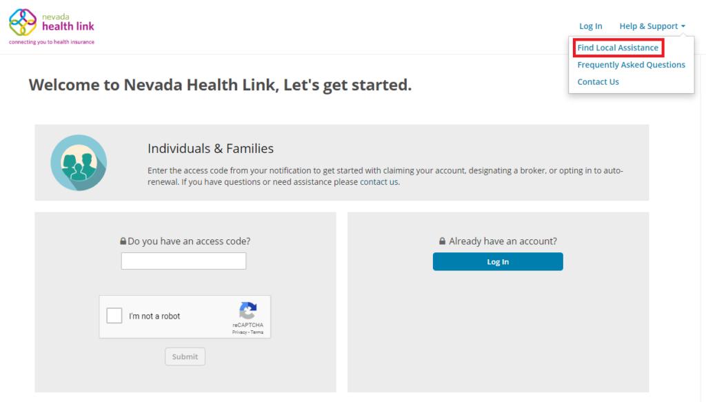 Screenshot: Help and Support menu, Find Local Assistance